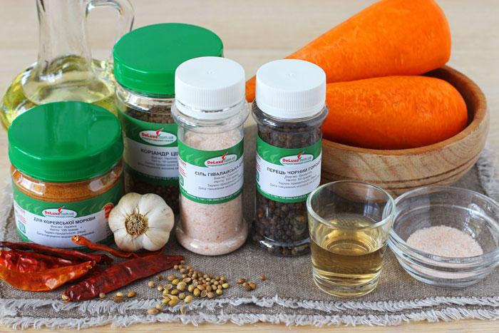Ингредиенты для салата Морковь по-корейски