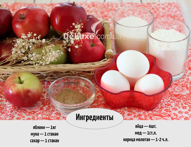 Шарлотка с яблоками 1 стакан муки 1 стакан сахара 1 стакан